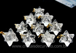 100 Merkaba Pingente Pedra Cristal Extra Presilha Banho Dourado