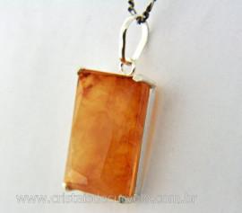 Pingente Facetado Pedra Hematoide Amarelo Prata 950 caixinha Garra Reforçado