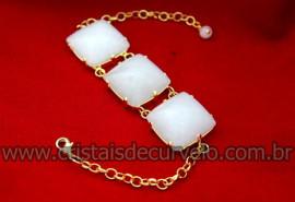 Bracelete 03 Pedras Quartzo Leitoso Lapidação Quadrado Cabochão Dourado Cod 35.6