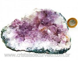 Drusa Ametista Média Pedra Natural Lilás Boa Cor Cod 113991