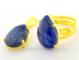 Conjunto Anel e Pingente Gota Pedra Sodalita Dourado CP9104