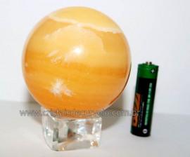 Esfera Calcita Mexicana Pedra Natural de Garimpo Lapidada Cod EM4590