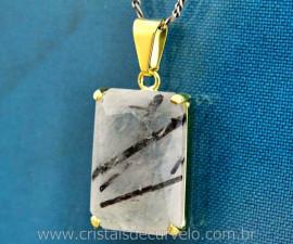 Cristal com Turmalina Incrustada Facetado Manual Montagem Garra Dourado