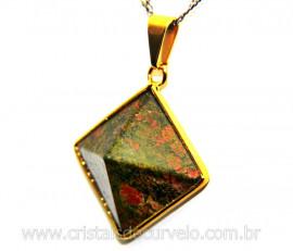 Pingente Piramide Pedra Unakita  Castoação Envolto Flash Dourado