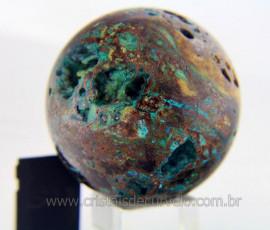 Esfera Malaquita Pedra Rara e Natural Mineral de Rocha Lapidado Manual Cod 409.5