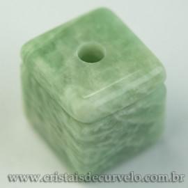 Pingente Pedra Cubo Amazonita Difusor Aromaterapia Ranhurado