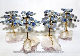 04 Árvores Da Felicidade Pedra Quartzo Azul na Drusa REFF 101695