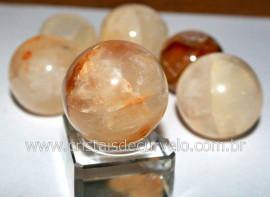 01 Mini Bola de Hematoide Amarelo Esfera Pedra Natural de Garimpo Pequena REFF 20.7