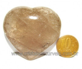 Coraçao Pedra Quartzo Fume com Esfumaçado Natural Cod 116093