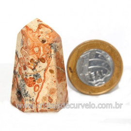 Ponta Jaspe Leopardo Natural Gerador Sextavado Cod 119311