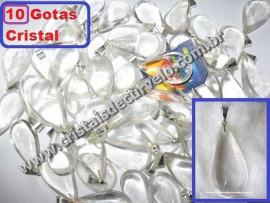 10 Gotas CRISTAL Pedra Quartzo Pingente Banhado Prata
