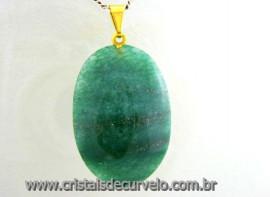 Pingente Cabochão QUARTZO VERDE Pedra Natural Pino Dourado