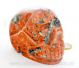 Cranio Calcita Laranja Caveira Pedra Natural Esculpido Skull Stone Cod CL1.127