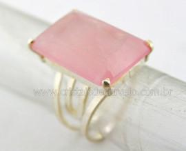 Anel Prata 950 Pedra Quartzo Rosa Multifacetado Aro Ajustavel ao Dedo REFF 22.8