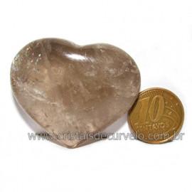 Coraçao Pedra Quartzo Fume com Esfumaçado Natural Cod 116095