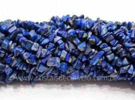 Fio Sodalita Azul Cascalho Extra Furado a Laser Pedra Natural Rolada e Furado 90cm