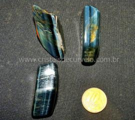 03 Olho de Falcão Rolado Pedra Natural de Garimpo Esoterismo Colecionador Ref 37.7