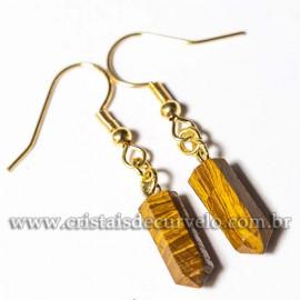 Brinco Micro Pontinha Pedra Jaspe Amarelo Montagem Anzol Dourado
