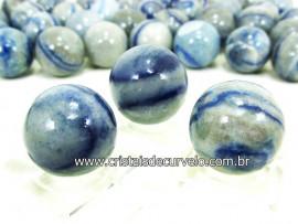 03 Mini Bola Aventurina Azul Esfera Pedra Natural e Pequena KIT
