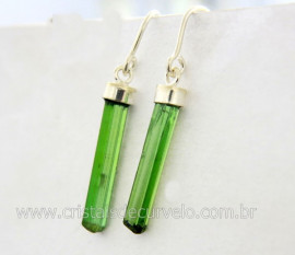 Brinco Canudo Turmalina Verde Pedra Natural de Garimpo Montagem Prata 950