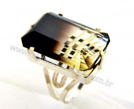 Anel Prata 950 Pedra Especial Quartzo Bi Color Montado Aro Ajustavel Cod 65.3