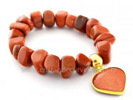 Pulseira Com Coração Pedra do Sol Fio Silicone Reff PC9681