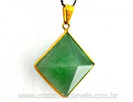 Pingente Piramide Pedra Quartzo Verde Envolto Flash Dourado