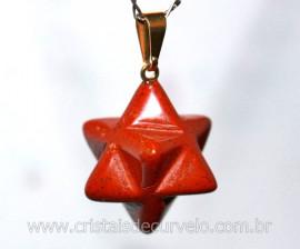 Merkaba Pingente Pedra Jaspe Vermelho Lapidação Manual com Presilha Dourado