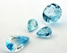 Conjunto Brinco Pingente e Anel Gema Topazio Azul Cod CG9399