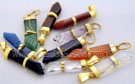 100 Pingente Misto Figa Pedras Diversas Montagem Banho Ouro