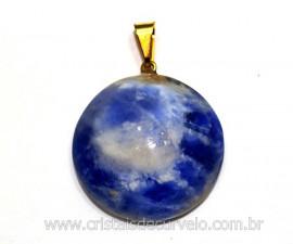 Pingente Disco Liso Sodalita Azul Pedra Natural Pino Dourado