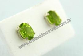 Brinco Prata 950 Pedra Peridoto Verde Oval Facetado Trava Tarracha Prata
