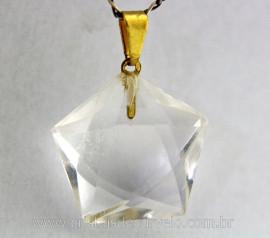 Pentagrama Pingente Pedra Cristal Montagem Banho Dourado