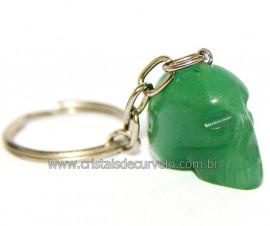 Chaveiro Crânio Quartzo Verde Natural Caveirinha Reff 108004
