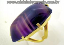 Anel Agata Lilas Cabochão Retangular Pedra Natural Montagem Flash Dourado Aro Ajustavel