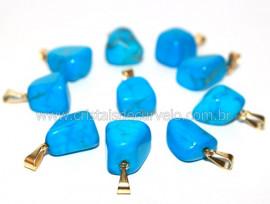 10 Pingente Pedrinha Howlita Azul Dourado ATACADO Reff PA9979