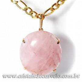 Pingente Gigante Cabochão Oval Quartzo Rosa Garra Dourado 125093