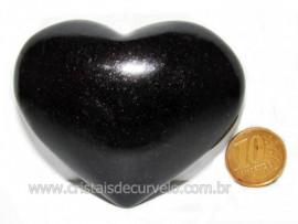 Coração Quartzo Preto Quartzito Negro Pedra Natural Cod CP1384