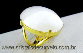 Anel Quartzo Leitoso Cabochão Oval Pedra Natural Montagem Banho Flash Dourado Aro Ajustavel  AC1413