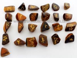 Jogo de Runas Alfabeto Antiga Europa Viking 25 Pedras Natural Olho de Tigre