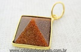 Pingente Piramide Pedra do Sol Castoação Envolto Flash Dourado