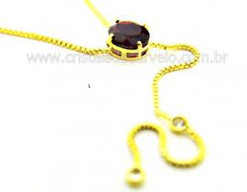 Colar Gravata Pedra Rodolita Gema Natural Dourado Ref CG4700