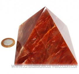 Pirâmide GRANDE Pedra Aragonita Vermelha Natural Queops 119024