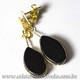 Brinco Gota Obsidiana Negra 40mm Ranhurado Banho Dourado 125278