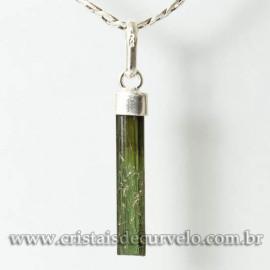 Pingente Canudo TURMALINA VERDE Pedra Bruto Prata 950 Cod 125104