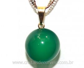 Pingente Bolinha Agata Verde Envolto Pedra Montagem Dourada
