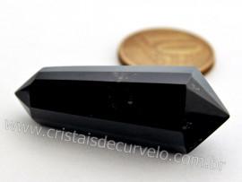 Vogel 12 Facetas Pequeno Obsidiana Preta Bi-terminado Pedra Natural REFF 49.7