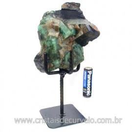 Esmeralda Canudo Pedra Natural com Suporte De Ferro Cod 121540