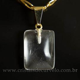 Mini Pingente Cristal Retangular 14mm Liso Pedra Natural Pino Dourado