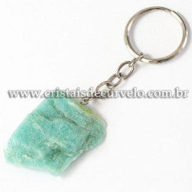 Chaveiro Pedra Bruta Amazonita Verde Pedra da Cura Reff 112897